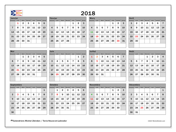 Calendrier 2018, avec les jours fériés de Terre-Neuve-et-Labrador. Organisateur à imprimer gratuit.