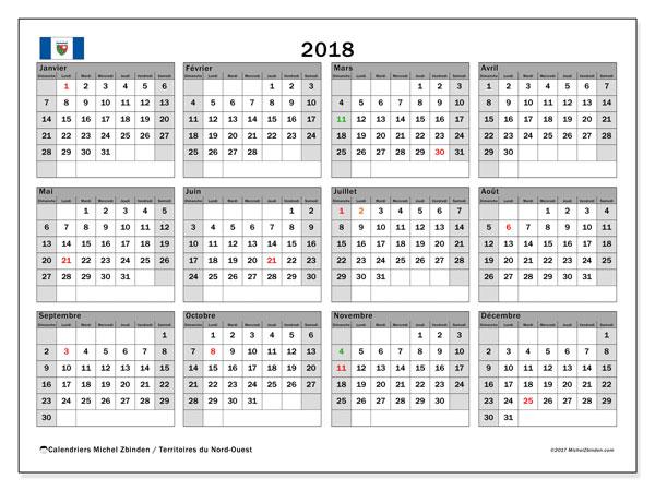Calendrier 2018, avec les jours fériés des Territoires du Nord-Ouest. Calendrier à imprimer gratuit.