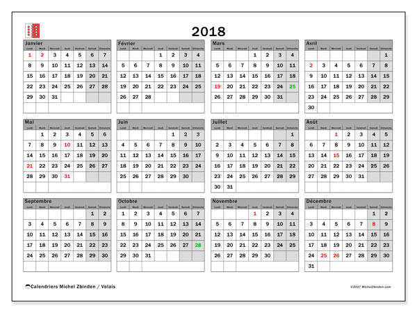 Calendrier 2018, avec les jours fériés du Canton du Valais. Planificateur à imprimer gratuit.