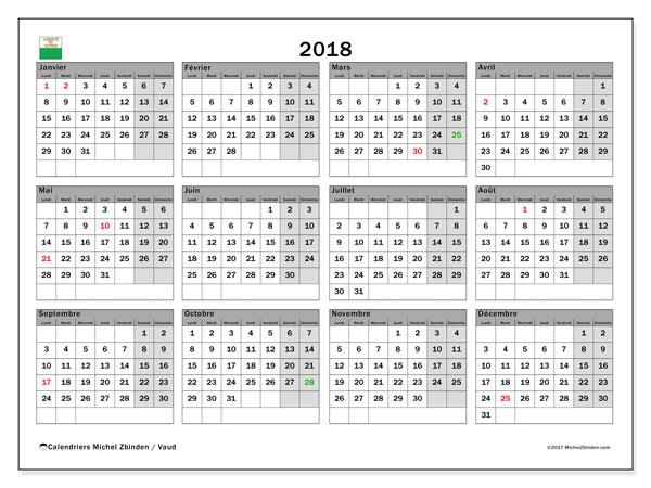Calendrier 2018, avec les jours fériés du Canton de Vaud. Calendrier à imprimer gratuit.