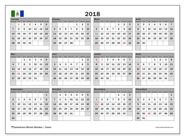 Calendrier 2018, avec les jours fériés du Yukon. Calendrier gratuit à imprimer.