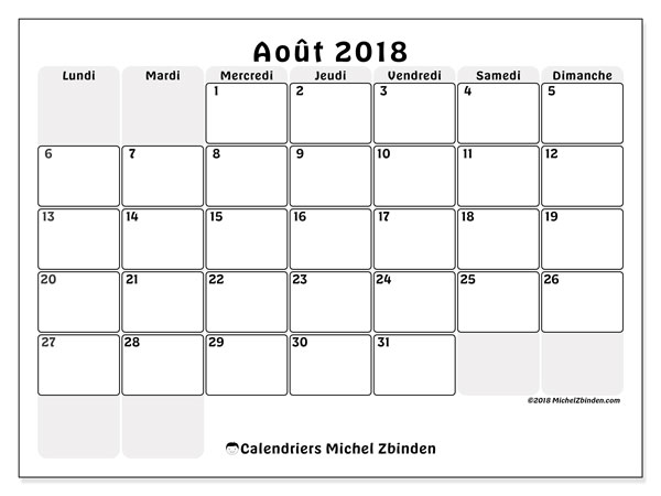 Calendrier  août 2018, 44LD