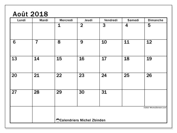 Calendrier août 2018 (50LD). Calendrier gratuit à imprimer.