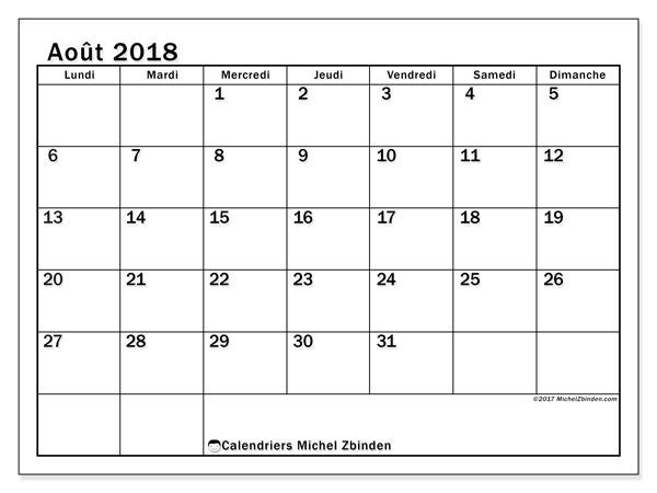 Calendrier  août 2018, 50LD