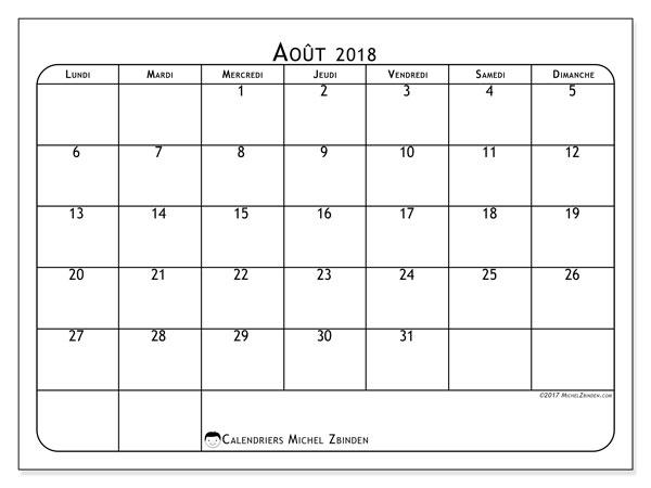Calendrier  août 2018, 51LD