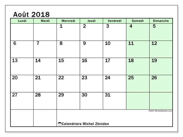 Calendrier août 2018 (60LD). Calendrier mensuel à imprimer gratuit.