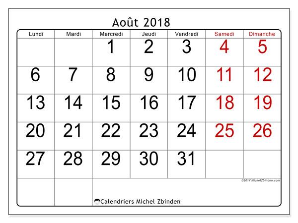 Calendrier août 2018 (62LD). Calendrier mensuel à imprimer gratuit.