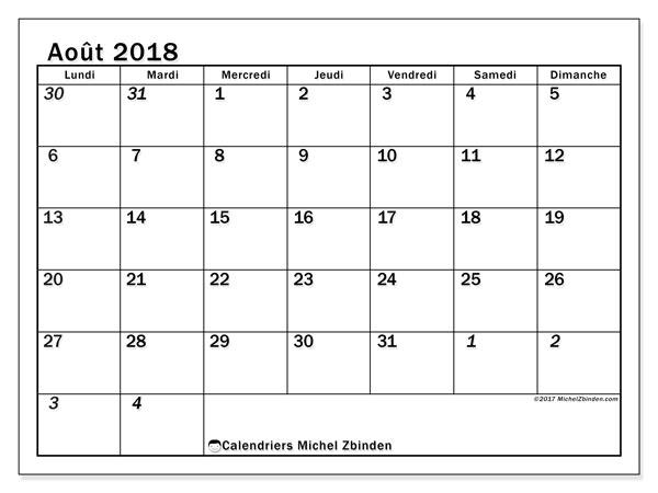 Calendrier août 2018 (66LD). Calendrier gratuit à imprimer.