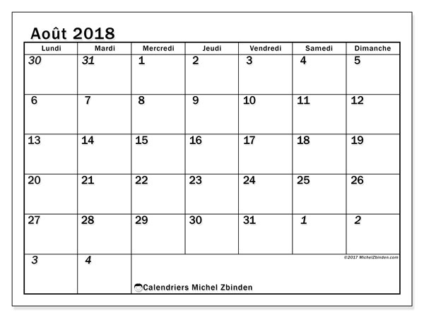 Calendrier  août 2018, 66LD