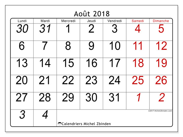 Calendrier août 2018 (72LD). Calendrier pour le mois à imprimer gratuit.