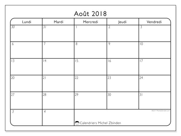 Calendrier août 2018 (74LD). Calendrier gratuit à imprimer.