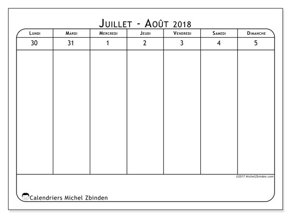 Calendrier août 2018 (90LD). Calendrier pour la semaine à imprimer gratuit.