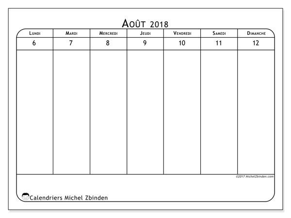 Calendrier août 2018 (91LD). Calendrier pour la semaine à imprimer gratuit.