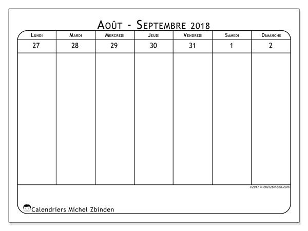 Calendrier août 2018 (94LD). Calendrier à imprimer gratuit.