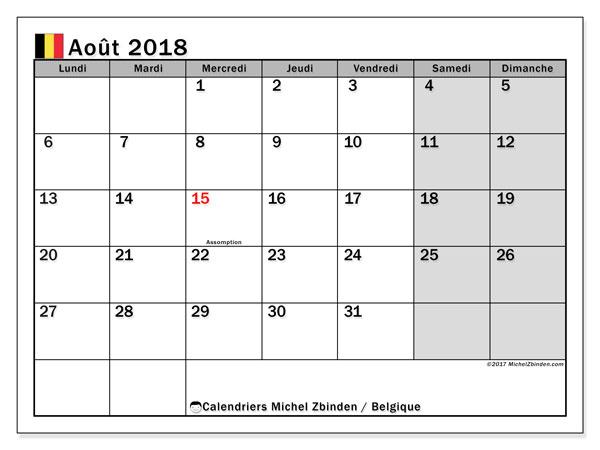 Calendrier août 2018, avec les jours fériés de la Belgique. Organisateur à imprimer gratuit.