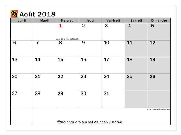 Calendrier août 2018, avec les jours fériés du Canton de Berne. Calendrier mensuel à imprimer gratuit.