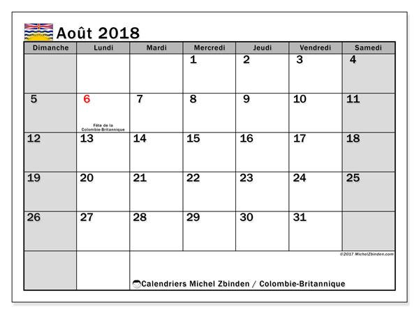 Calendrier août 2018, avec les jours fériés de la Colombie-Britannique. Planificateur à imprimer gratuit.