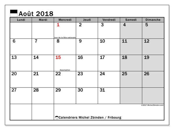 Calendrier août 2018, avec les jours fériés du Canton de Fribourg. Calendrier à imprimer gratuit.