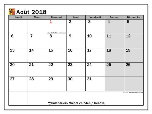 Calendrier août 2018, avec les jours fériés du Canton de Genève. Calendrier mensuel à imprimer gratuit.