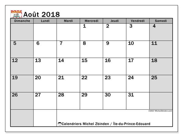 Calendrier août 2018, avec les jours fériés de l'Île-du-Prince-Edouard. Calendrier à imprimer gratuit.