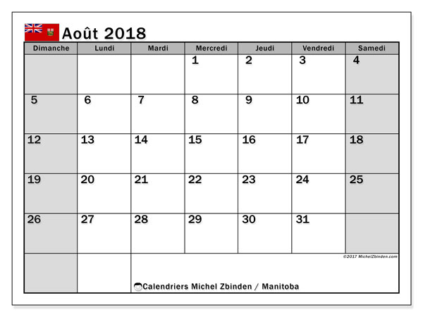 Calendrier août 2018, avec les jours fériés du Manitoba. Calendrier imprimable gratuit.