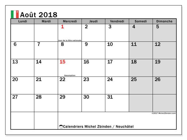 Calendrier août 2018, avec les jours fériés du Canton de Neuchâtel. Calendrier mensuel à imprimer gratuit.