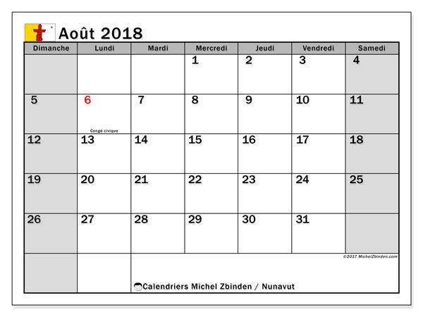 Calendrier août 2018, avec les jours fériés du Nunavut. Calendrier mensuel à imprimer gratuit.