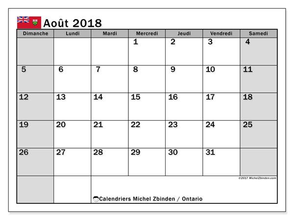 Calendrier août 2018, avec les jours fériés de l'Ontario. Organisateur à imprimer gratuit.