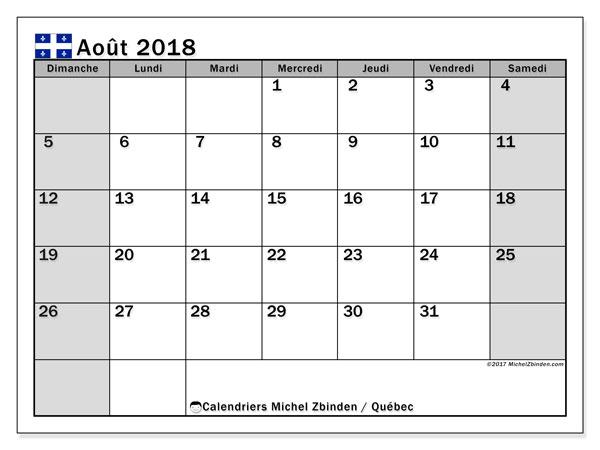Calendrier août 2018, avec les jours fériés du Québec. Calendrier imprimable gratuit.