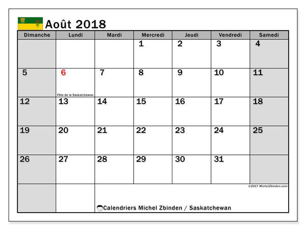 Calendrier août 2018, avec les jours fériés de la Saskatchewan. Calendrier imprimable gratuit.