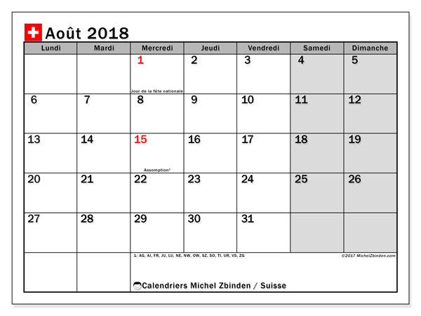 Calendrier août 2018, avec les jours fériés de la Suisse. Calendrier mensuel à imprimer gratuit.