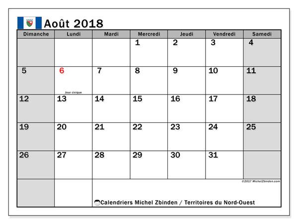 Calendrier août 2018, avec les jours fériés des Territoires du Nord-Ouest. Calendrier pour le mois à imprimer gratuit.