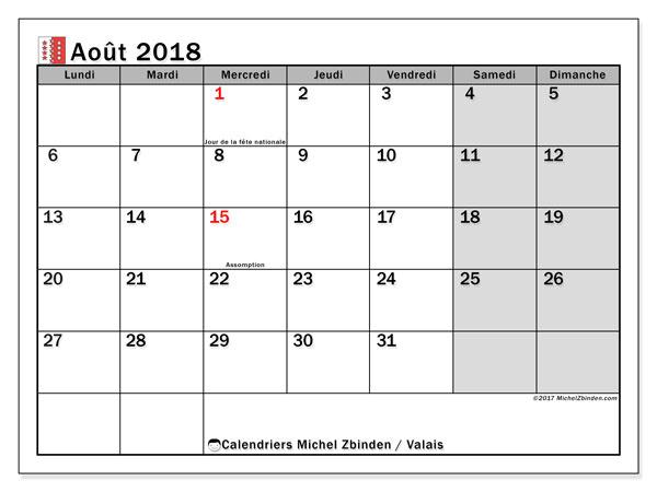 Calendrier août 2018, avec les jours fériés du Canton du Valais. Planificateur à imprimer gratuit.