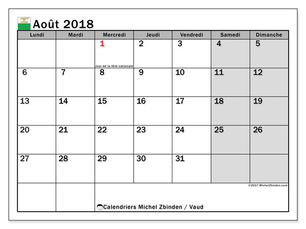 Calendrier à imprimer gratuit août 2018, avec les jours fériés du Canton de Vaud