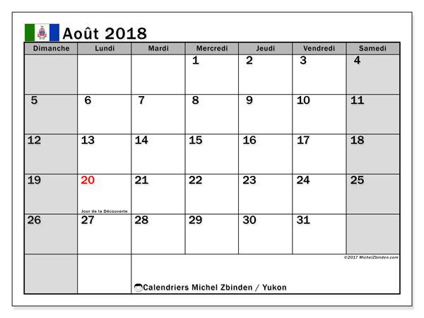 Calendrier août 2018, avec les jours fériés du Yukon. Calendrier à imprimer gratuit.