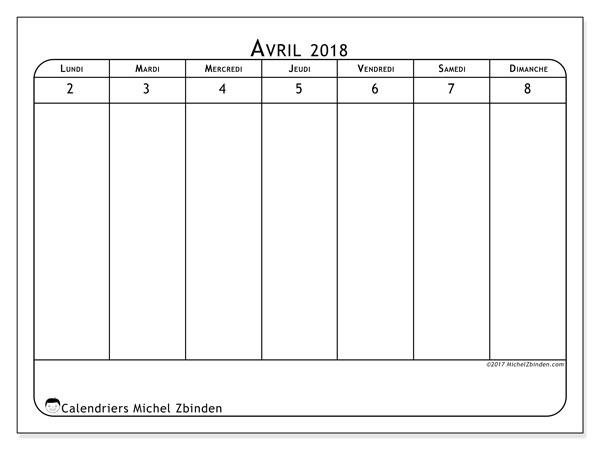 Calendrier avril 2018 (43-1LD). Calendrier hebdomadaire à imprimer gratuit.