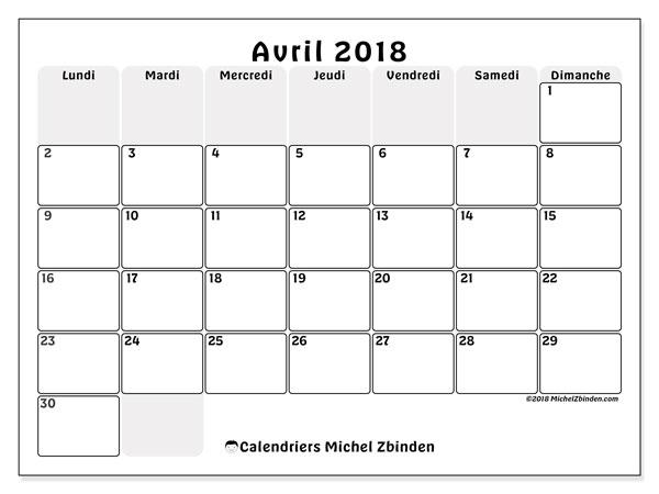 Calendrier avril 2018 (44LD). Calendrier pour le mois à imprimer gratuit.