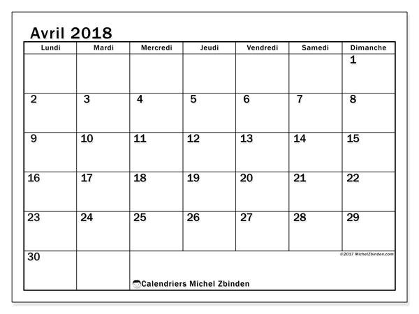 Calendrier avril 2018 (50LD). Calendrier gratuit à imprimer.