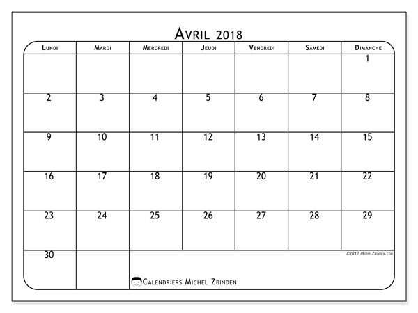 Calendrier avril 2018 - 51LD. .