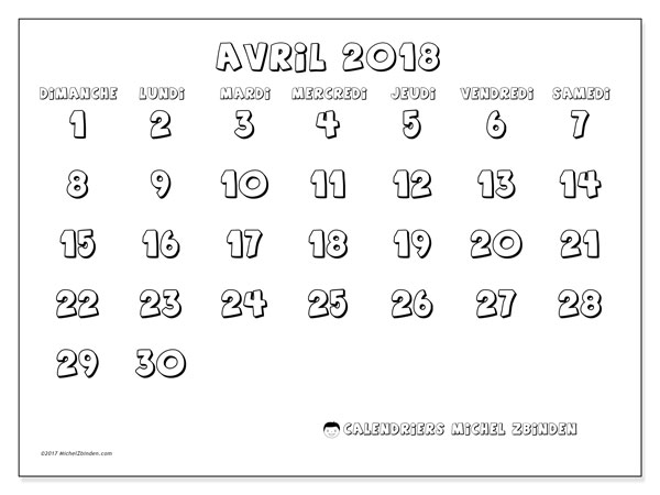 Calendrier avril 2018 (56DS).