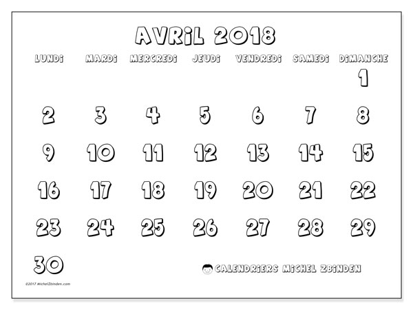 Calendrier avril 2018 (56LD). Calendrier mensuel à imprimer gratuit.