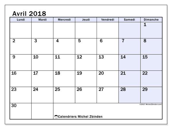 Calendrier avril 2018 (57LD). Organisateur à imprimer gratuit.