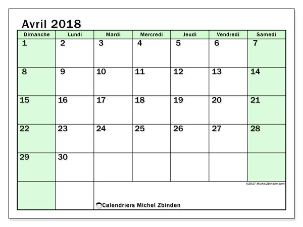 Calendrier avril 2018 (60DS).