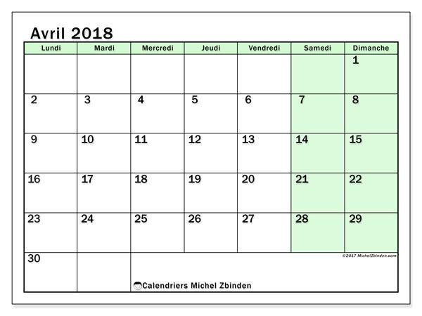 Calendrier avril 2018 (60LD). Organisateur à imprimer gratuit.