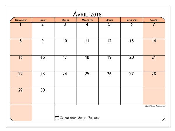 Calendrier avril 2018 (61DS).