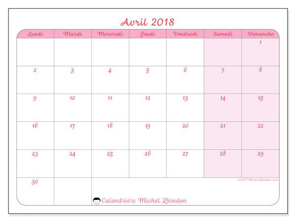 Calendrier avril 2018 (63LD). Calendrier pour le mois à imprimer gratuit.