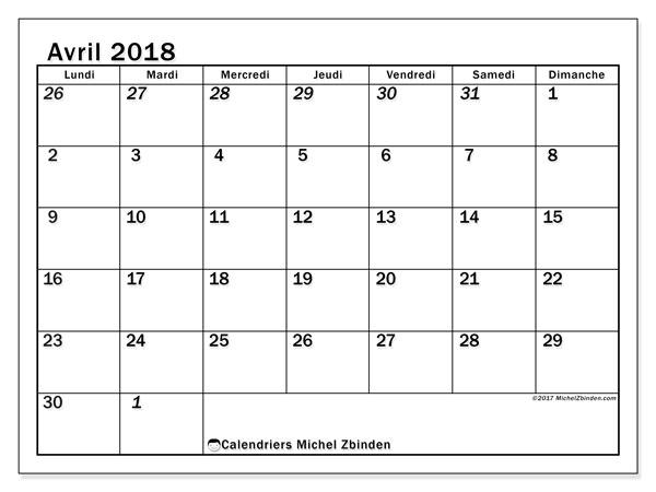 Calendrier avril 2018 (66LD). Calendrier gratuit à imprimer.