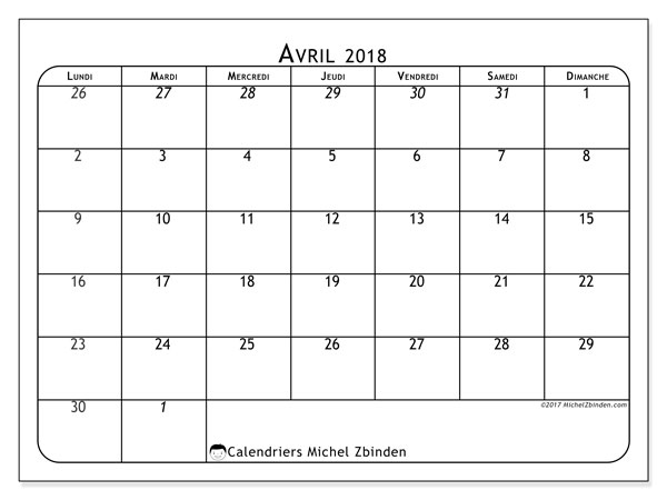 Calendrier avril 2018 (67LD). Calendrier imprimable gratuit.