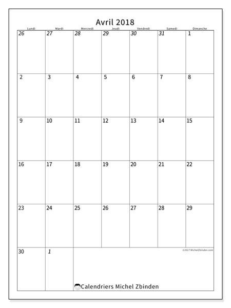 Calendrier avril 2018 (68LD). Calendrier pour le mois à imprimer gratuit.