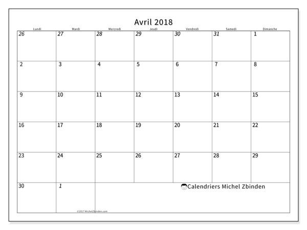 Calendrier avril 2018 (70LD). Calendrier pour le mois à imprimer gratuit.